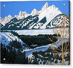 Acrylic Print featuring the painting Grand Teton by Frederic Kohli