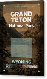 Grand Teton National Park In Wyoming Travel Poster Series Of National Parks Number 24 Acrylic Print