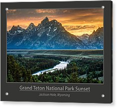 Grand Teton National Park Sunset Poster Acrylic Print by Gary Whitton