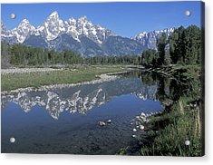 Grand Teton Reflection At Schwabacher Landing Acrylic Print by Sandra Bronstein
