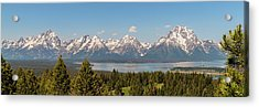 Grand Tetons Over Jackson Lake Panorama Acrylic Print