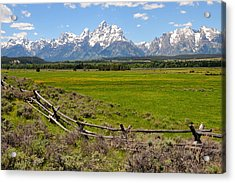 Grand Tetons With Buck And Pole Fence Acrylic Print by Alan Lenk