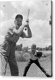Grandfather At Bat With Boy As Catcher Acrylic Print
