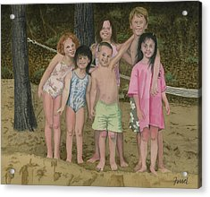 Acrylic Print featuring the painting Grandkids On The Beach by Ferrel Cordle