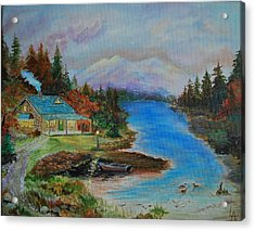 Acrylic Print featuring the painting Grandmas Cabin by Leslie Allen