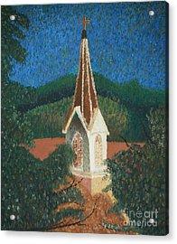 Acrylic Print featuring the painting Grandmas Church by Jacqueline Athmann