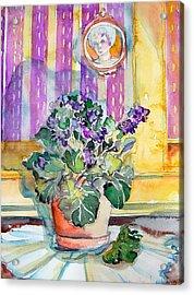 Grandmas' Violets Acrylic Print by Mindy Newman