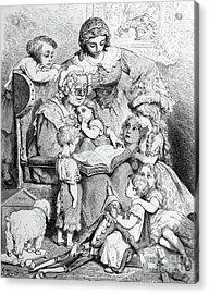 Grandmother Telling A Story To Her Grandchildren Acrylic Print by Gustave Dore