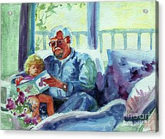 Acrylic Print featuring the painting Grandpa Reading by Kathy Braud