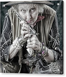 Granny With Her Gun  Acrylic Print by Steven Digman