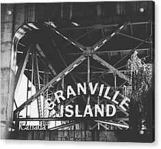 Granville Island Bridge Black And White- By Linda Woods Acrylic Print