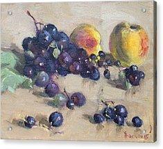 Grape And Peach Acrylic Print by Ylli Haruni