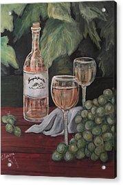 Grape Leaves And Wine Acrylic Print