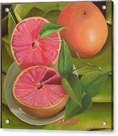 Grapefruit On Fabric Acrylic Print by Barbara Auito