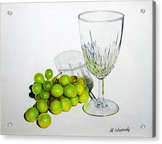 Grapes And Crystal Acrylic Print by Marna Edwards Flavell