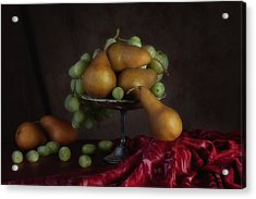 Grapes And Pears Centerpiece Acrylic Print by Tom Mc Nemar