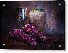 Grapes And Silver Goblet Acrylic Print by Tom Mc Nemar