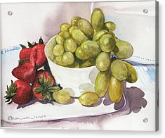 Grapes And Strawberries Acrylic Print