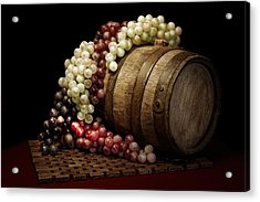 Grapes And Wine Barrel Acrylic Print by Tom Mc Nemar