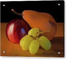 Grapes Plum And Pear 01 Acrylic Print by Wally Hampton