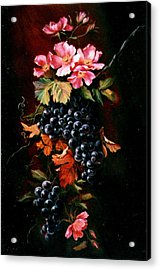 Grapes With Wild Roses Acrylic Print