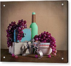 Grapes With Wine Stoppers Acrylic Print by Tom Mc Nemar