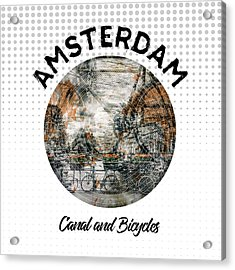 Graphic Art Amsterdam Canal And Bicycles Acrylic Print
