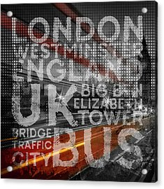 Graphic Art London Red Bus Acrylic Print by Melanie Viola
