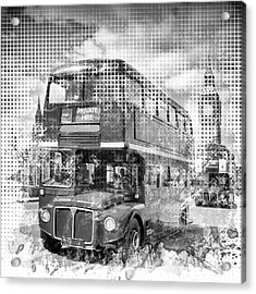 Graphic Art London Westminster Buses Acrylic Print by Melanie Viola