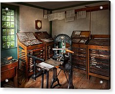 Graphic Artist - The Print Office - 1750  Acrylic Print by Mike Savad