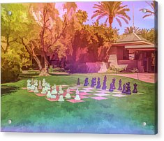 Acrylic Print featuring the photograph Graphic Rainbow Chess At The Biltmore by Aimee L Maher Photography and Art Visit ALMGallerydotcom