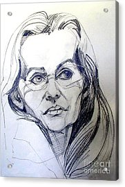 Graphite Portrait Sketch Of A Woman With Glasses Acrylic Print