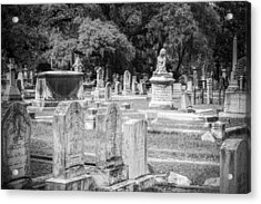 Graves At Magnolia Cemetery Charleston Sc Black And White Acrylic Print