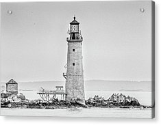 Acrylic Print featuring the photograph Graves Lighthouse- Boston, Ma - Black And White by Peter Ciro
