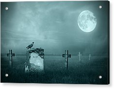 Gravestones In Moonlight Acrylic Print