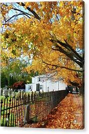 Graveyard In Autumn Acrylic Print by Susan Savad