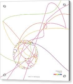 Gravitational Simulation Of 153 Digits Of Pi. Acrylic Print by Martin Krzywinski