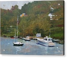 Gray Afternoon At Rockport Harbor Acrylic Print by Peter Salwen