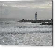 Gray Day Lighthouse Acrylic Print by Sharon McKeegan