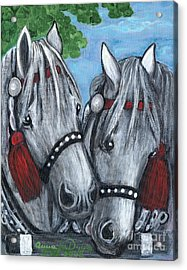 Gray Horses Acrylic Print by Anna Folkartanna Maciejewska-Dyba