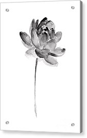 Gray Lotos Drawing Acrylic Print