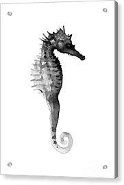 Gray Seahorse Minimalist Painting Acrylic Print