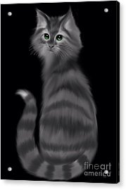 Acrylic Print featuring the painting Gray Striped Cat by Nick Gustafson