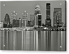 Grayscale Louisville Lights Acrylic Print by Frozen in Time Fine Art Photography