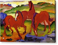 Grazing Horses Iv The Red Horses 1911 Acrylic Print