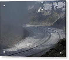 Great Aletsch Glacier In The Clouds. Canton Of Valais, Switzerland. Acrylic Print