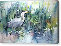 Great Blue Heron Acrylic Print by Leslie Redhead