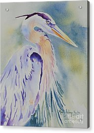 Acrylic Print featuring the painting Great Blue Heron by Mary Haley-Rocks