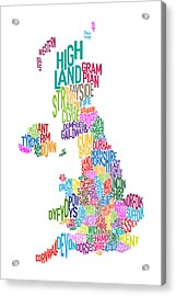 Great Britain County Text Map Acrylic Print