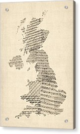 Great Britain Uk Old Sheet Music Map Acrylic Print by Michael Tompsett